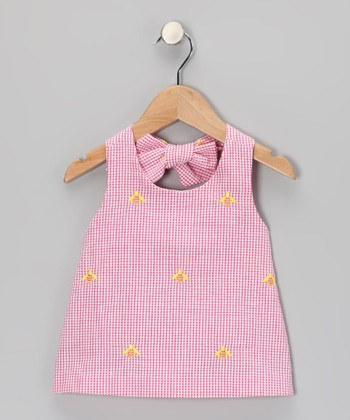 K&L Pink Gingham Bee Halter Top - Girls