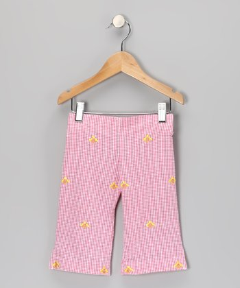 K&L Pink Gingham Bee Capris - Toddler & Girls