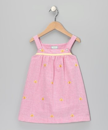 K&L Pink Gingham Bee Babydoll Dress - Infant, Toddler & Girls