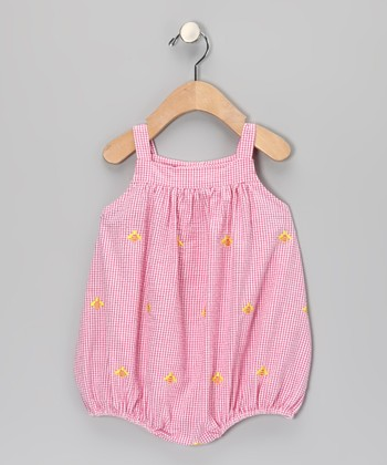 K&L Pink Gingham Bee Bubble Romper - Infant