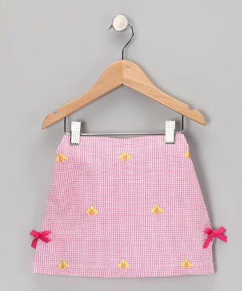 K&L Light Pink Gingham Bee Skort - Toddler & Girls