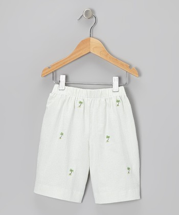 K&L Cream Palm Tree Seersucker Shorts - Toddler & Girls