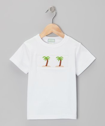 K&L White Palm Tree Smocked Tee - Toddler & Boys