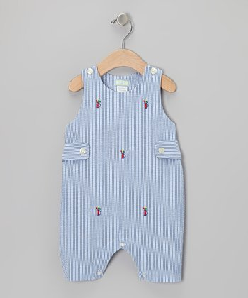 K&L Blue Golf Bag Seersucker Bubble Romper - Infant