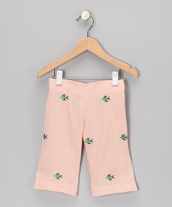 K&L Peach Fish Seersucker Capris - Toddler & Girls