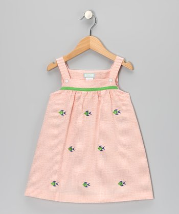 K&L Peach Fish Seersucker Babydoll Dress - Infant & Girls