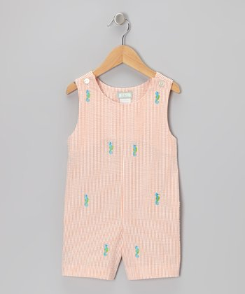 K&L Peach Seahorse Seersucker Shortalls - Infant & Toddler