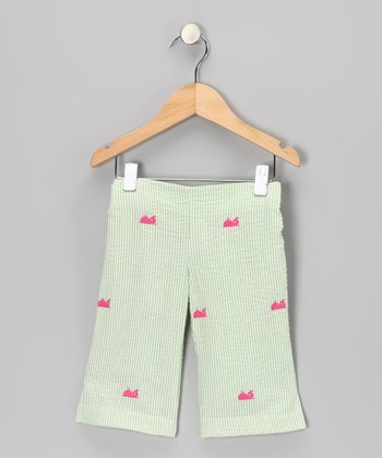 K&L Light Green Whale Seersucker Capris - Toddler & Girls