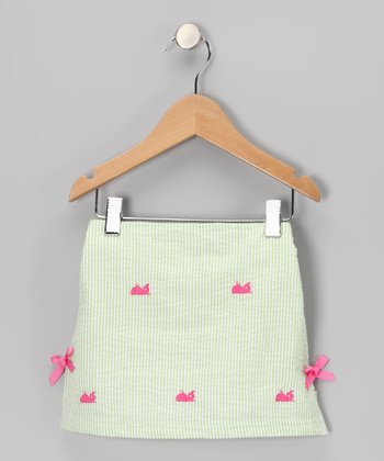 Green Whale Seersucker Skirt - Girls