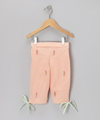 K&L Orange Gingham Seahorse Capris - Infant & Toddler