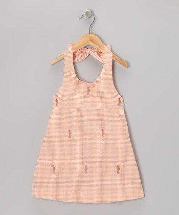K&L Orange Gingham Seahorse Halter Dress - Toddler & Girls