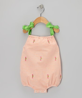 K&L Orange Gingham Seahorse Bubble Romper - Infant