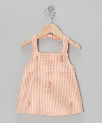 K&L Orange Gingham Seahorse Halter Top - Infant & Toddler