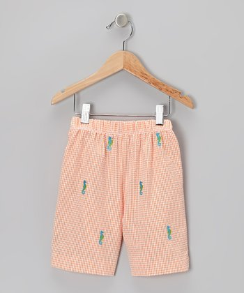 K&L Orange Gingham Seahorse Shorts - Toddler & Boys