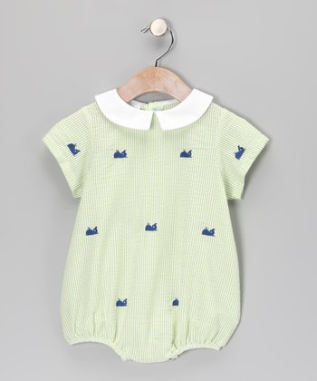 Green Gingham Whale Bubble Bodysuit - Infant