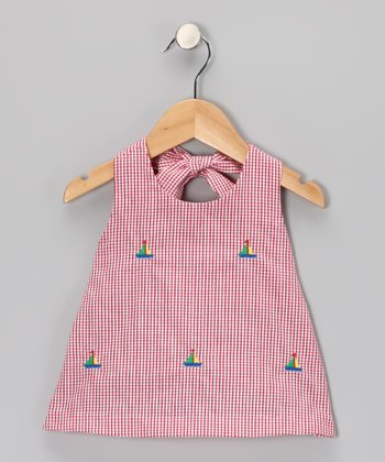 K&L Red Gingham Sailboat Halter Top - Girls