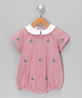 K&L Red Gingham Sailboat Bubble Romper - Infant
