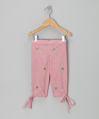 K&L Red Gingham Frog Capris - Infant & Toddler
