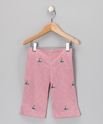 Red Sailboat Gingham Capri Pants - Toddler & Girls