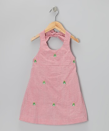 K&L Red Gingham Frog Halter Dress - Toddler & Girls