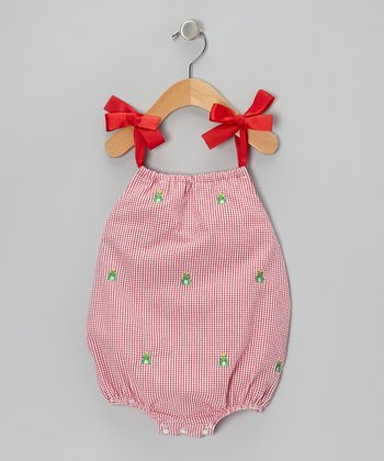 K&L Red Gingham Frog Bubble Romper - Infant