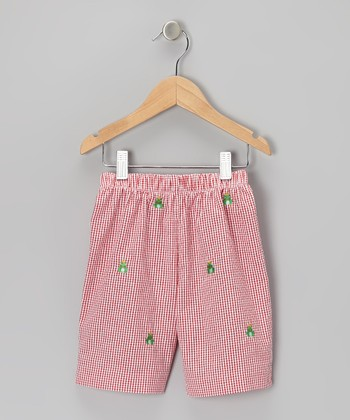 K&L Red Gingham Frog Shorts - Toddler & Boys