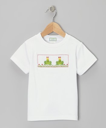 K&L White Frog Smocked Tee - Toddler & Boys