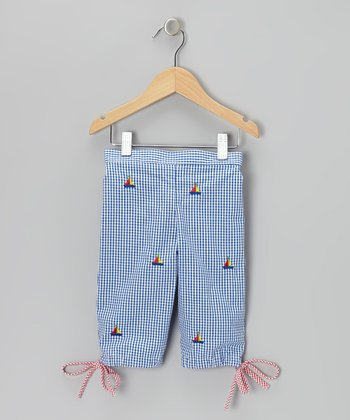 K&L Blue Gingham Sailboat Capris - Infant & Toddler