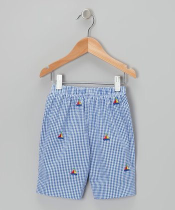 K&L Blue Gingham Sailboat Shorts - Toddler & Boys