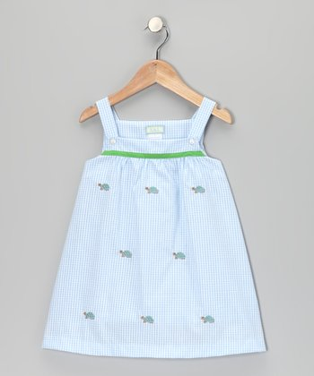 K&L Light Blue Gingham Turtle Babydoll Dress - Infant & Girls