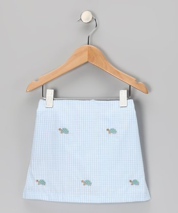 Blue Turtle Gingham Skirt - Toddler & Girls