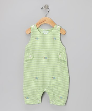 K&L Green Gingham Turtle Bubble Romper - Infant
