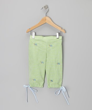 K&L Green Gingham Turtle Capris - Infant & Toddler