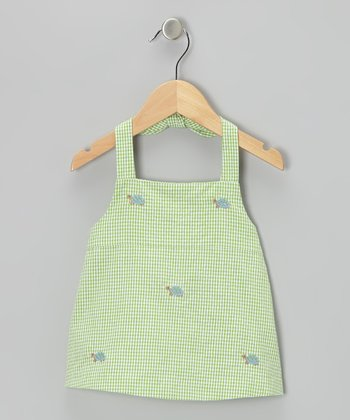 K&L Green Gingham Turtle Halter Top - Infant & Toddler