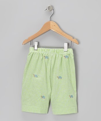 K&L Green Gingham Turtle Shorts - Toddler & Boys