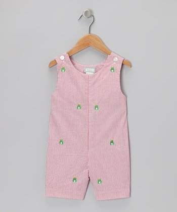K&L Red Frog Seersucker Shortalls - Infant & Toddler