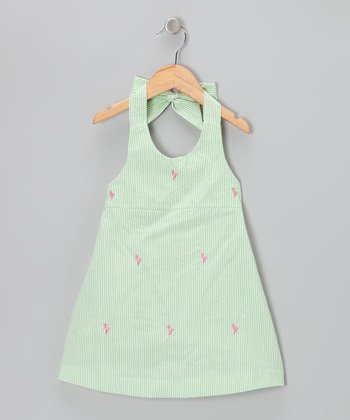 K&L Light Green Flamingo Seersucker Halter Dress - Toddler & Girls