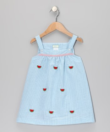 K&L Light Blue Watermelon Seersucker Babydoll Dress - Infant & Girls