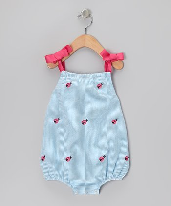 K&L Light Blue Ladybug Seersucker Bubble Romper - Infant