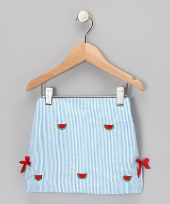 Blue Watermelon Seersucker Skirt - Girls