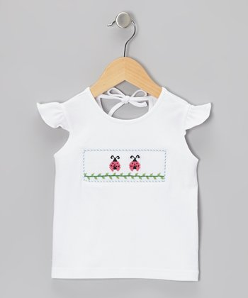 White Ladybug Smocked Angel-Sleeve Top - Infant & Toddler