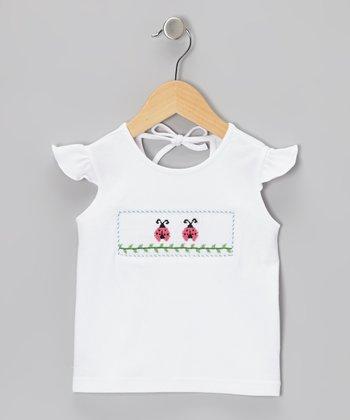 K&L White Ladybug Smocked Tee - Infant