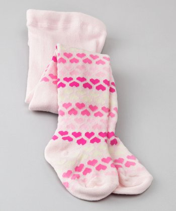 Baby Pink Heart Stripe Tights