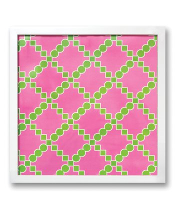 Pink & Green Trellis Square Magnetic Whiteboard