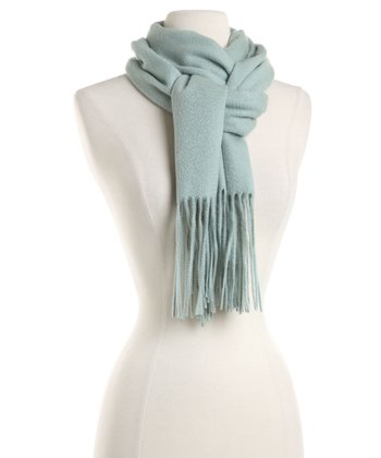 Spa Green Waterweave Cashmere Scarf