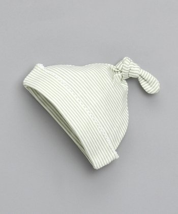 White & Mint Tiny Stripe Single-Knot Beanie