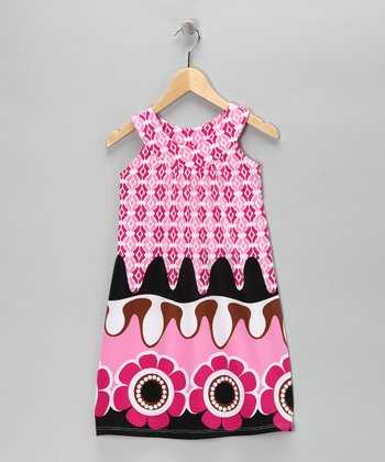 Pink Border Yoke Dress