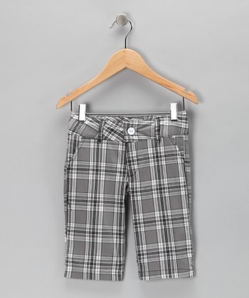 Gray Plaid Bermuda Shorts