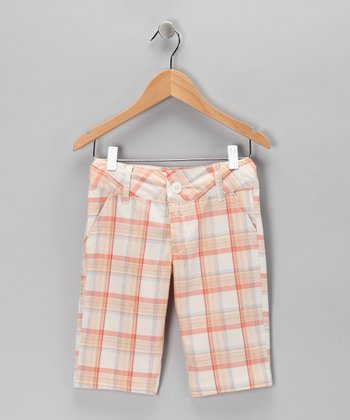 Orange Plaid Bermuda Shorts
