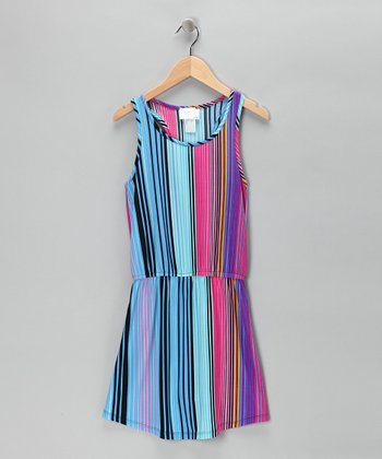 Blue & Pink Stripe Dress